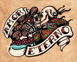 dia de los muertos amor eterno day of the dead art print 8 x