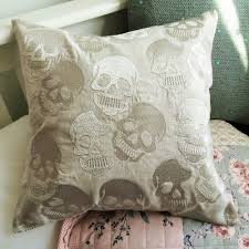halloween pillows skull print grey silver rock and roll shabby chic cushion