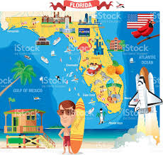 Clearwater Beach Florida Map by Cartoon Map Of Florida Stock Vector Art 472351145 Istock