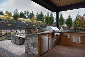 L Shaped Outdoor Kitchen by Outdoor Kitchen Ideas Country Deck Patio Ttm Development