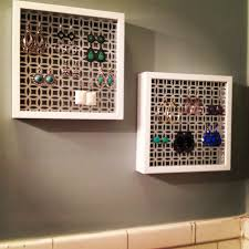 diy earring display using radiator cover and picture frames