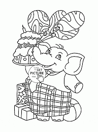 funny elephant with balloons and birthday cake coloring page for