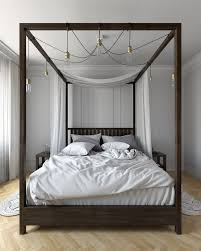 Modern Canopy Bed Frame Modern Canopy Bed Bedroom Eclectic With Wood Trim White Wall Mirrors