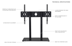 amazon com mount it universal tabletop tv stand base height