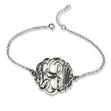 monogram bracelet silver cut out 3 letters monogram bracelet 3d monogrammed chain bracelet
