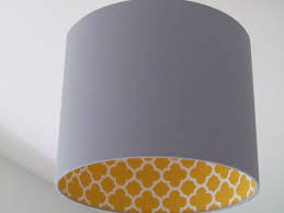 Quatrefoil Ceiling Light with New Handmade Light Grey Mustard Quatrefoil Geometric Lampshade