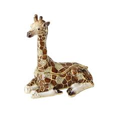 sitting giraffe metal ornament trinket gift 9 x 8 cm