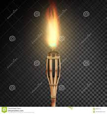burning beach bamboo torch with flame realistic fire realistic