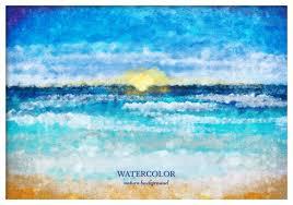 free vector watercolor sea landscape download free vector art