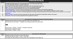 download stakeholder analysis log template for free tidyform