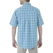 Rugged Wear Clothing Mens Wrangler Rugged Wear Plaid Short Sleeve Button Down Shirt Teal