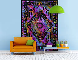 Livingroom Yoga Indian Mandala Bohemian Tapestry Twin Sun Moon Planet Galaxy Multi