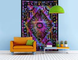 indian mandala bohemian tapestry twin sun moon planet galaxy multi
