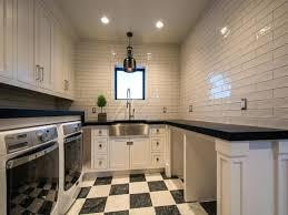 laundry folding station black and white room checkered floor tiles