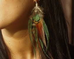 feather earing feather earrings etsy