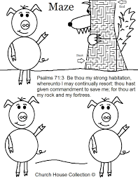 three little pigs houses coloring pages virtren com