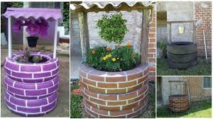 diy tire wishing well planters tutorials