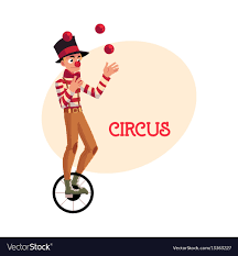 clowns juggling balls clown juggling balls while unicycle vector image