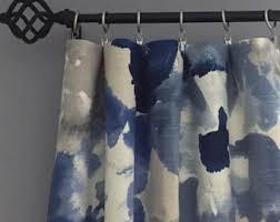 blue grey curtains etsy