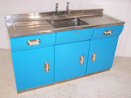 Blue Kitchen Sink Vintage 40s Metal Alloy Kitchen Sink Unit In Blue