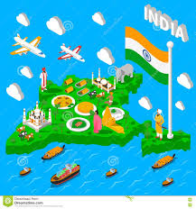 Indian Map India Map Touristic Isometric Poster Stock Vector Image 74236795