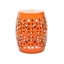 Orange Side Table Indoor Outdoor Orange Metal Accent Table Overstock