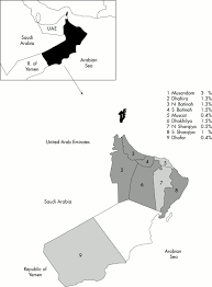 Map Of Oman The Prevalence And Causes Of Blindness In The Sultanate Of Oman