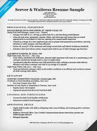resume for restaurant waitress restaurant server resume example