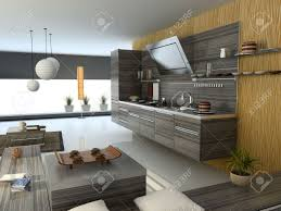 modern apartment kitchens the modern apartment kitchen detail view 3d stock photo picture