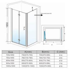 frameless bifold shower door enclosure side panel and tray 6mm