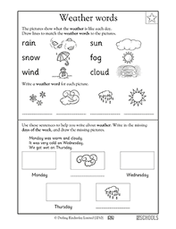 kindergarten writing worksheets weather words language arts
