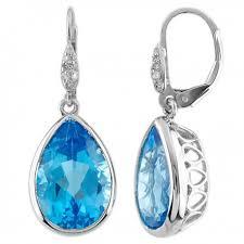 topaz earrings blue topaz earrings 10k white gold magic promise jewelry