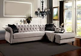 Upholstery Sectional Sofa 2 Pc Rotterdam Collection Warm Gray Fabric Upholstered