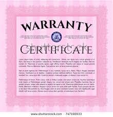 pink vintage warranty certificate template linear stock vector