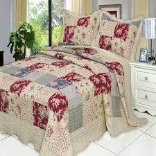 french country floral patchwork quilt coverlet set luxury linens