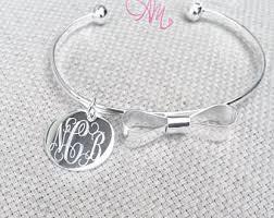 Monogrammed Bangle Bracelet Circle Font Monogram Disc Wire Bangle Monogram Bracelet
