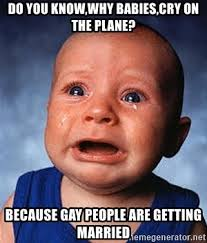 Gay Baby Meme - do you know why babies cry on the plane because gay people are