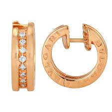 small diamond hoop earrings bvlgari b zero1 small 18 kt pink gold and diamond hoop earrings