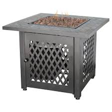 Outdoor Metal Side Table Endless Summer 30 In Steel Lp Fire Pit With Slate Mantel