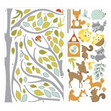 Woodland Forest Peel And Stick Woodland Fox And Friends Tree Peel And Stick Wall Decals Walmart Com