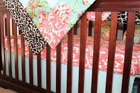 Minky Crib Bedding Crib Bedding Coral Damask Mint Minky Faux Cheetah