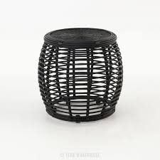 Rattan Accent Table Wicker Accent Table Modern Drum Charcoal Patio Furniture Teak