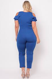 royal blue plus size cold shoulder ruffle jumpsuit royal blue curvy sense