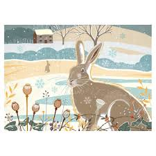winter hare christmas cards 8 pack woodland trust