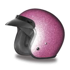 ladies motorcycle helmet cruiser pink metal flake helmet 3 4 shell helmets