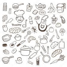 Kitchen Utensils Kitchen Utensils And Food Hand Drawn Set U2014 Stock Vector