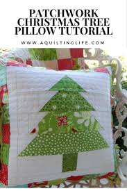 patchwork christmas tree pillow tutorial on a quilting life