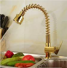Spring Pull Down Kitchen Faucet New Gold Printed Brass Spring Pull Down Kitchen Sink Faucet Ta530g
