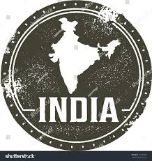 vintage style india country stamp stock vector 153106202