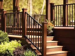 metal landing banister and railing the right steps on building deck stair railing with metal design